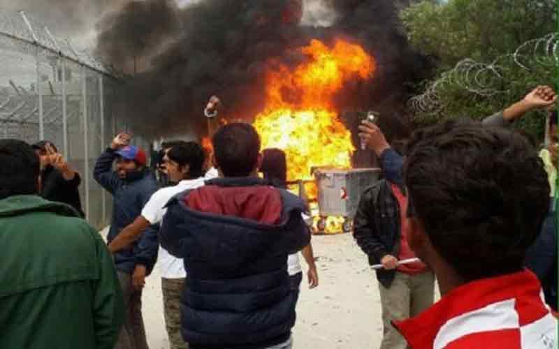 Αποτέλεσμα εικόνας για Εξέγερση λαθρομεταναστών στη Λέσβο